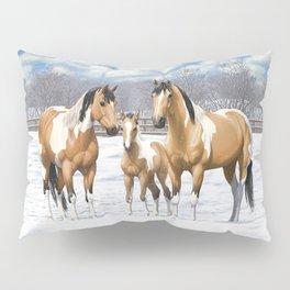 Buckskin Pinto Paint Quarter Horses In Snow Pillow Sham