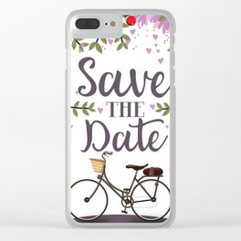 Save the Date Vintage bicycle Clear iPhone Case