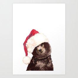 Christmas Baby Bear Art Print