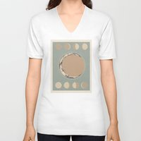 moon phases V-neck T-shirts featuring Phases of the Moon by Marilyn Foehrenbach