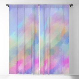 Modern abstract pink blue violet watercolor pattern Blackout Curtain