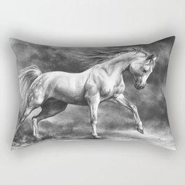 Running white horse - equine art Rectangular Pillow