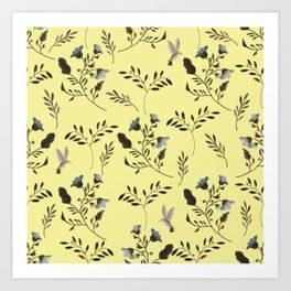 Butter Yellow and Bluebells and Bluebirds Floral Pattern Flowers in Blue and Bark Brown Art Print