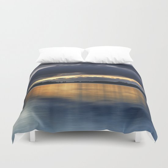 """Surprise sunset at the lake"" Duvet Cover"