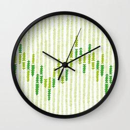 Green Triangle Arrow Trees Wall Clock