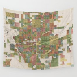 Vintage Map of Spokane WA (1910) Wall Tapestry