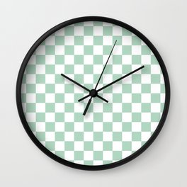 Gingham Nebula Pastels Green Mint Checked Pattern Wall Clock