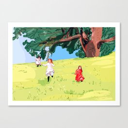 The little house on the prairie with Ingalls sisters Canvas Print