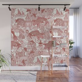 chinoiserie toile red Wall Mural