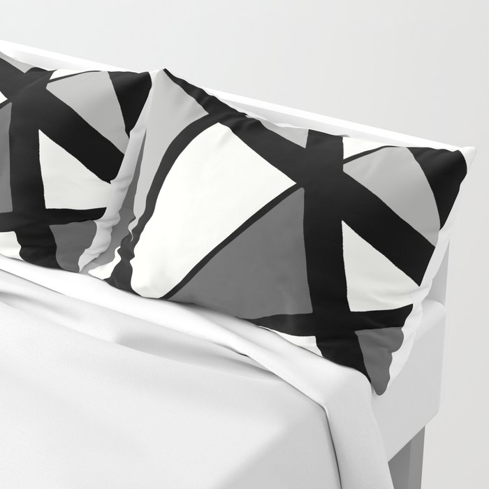 Geometric Line Abstract - Black Gray White Kissenbezug