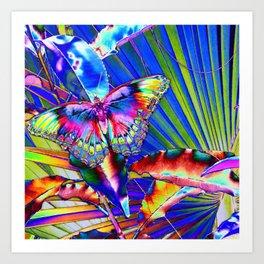 Neon Pop Art Beautiful Butterfly Bonanza  Art Print