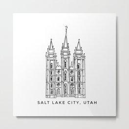 Salt Lake City Temple Sketch Metal Print