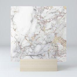 Champagne Rose Gold Blush Metallic Glitter Foil On Gray Marble Mini Art Print