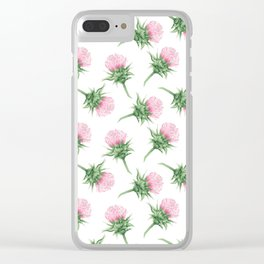 Pink thistel - Waterolor Clear iPhone Case