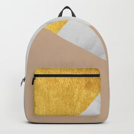 Carrara Marble with Gold and Pantone Hazelnut Color Backpack