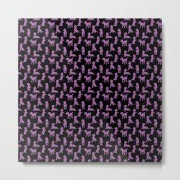 Sparkly Pink Poodle on Dark Metal Print