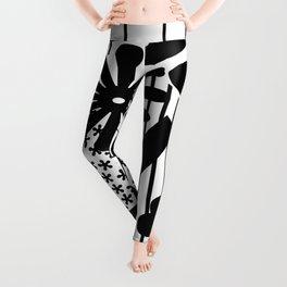 Black And White Flower Zentangle Leggings