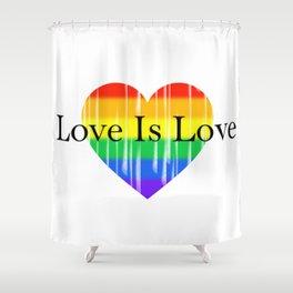 Love Is Love Rainbow Pride Heart 2 Shower Curtain