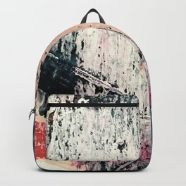 Kelly: a bold, textured, abstract mixed media piece in bright pinks, blues, and white Backpack