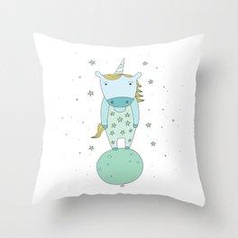Starry Unicorn Throw Pillow