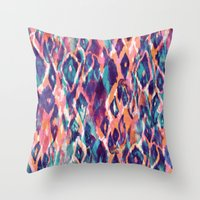 ikat Throw Pillows featuring Mystical Ikat by Nikkistrange