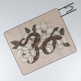 Snake and Magnolias Picnic Blanket
