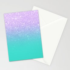 Modern mermaid lavender glitter turquoise ombre pattern Stationery Cards