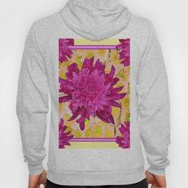 Styalized Art Purple & Yellow Chrysanthemums Floral Garden Hoody
