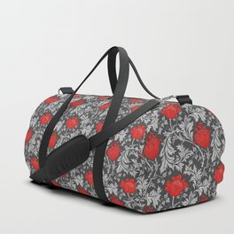 Art Nouveau Anemone, Gray / Grey and Red Duffle Bag
