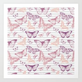 Minimal Black and White Stripes and Rose Gold Butterflies Art Print