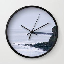 North Pier Lighthouse at dawn. Tynemouth, Northumberland, UK. Wall Clock