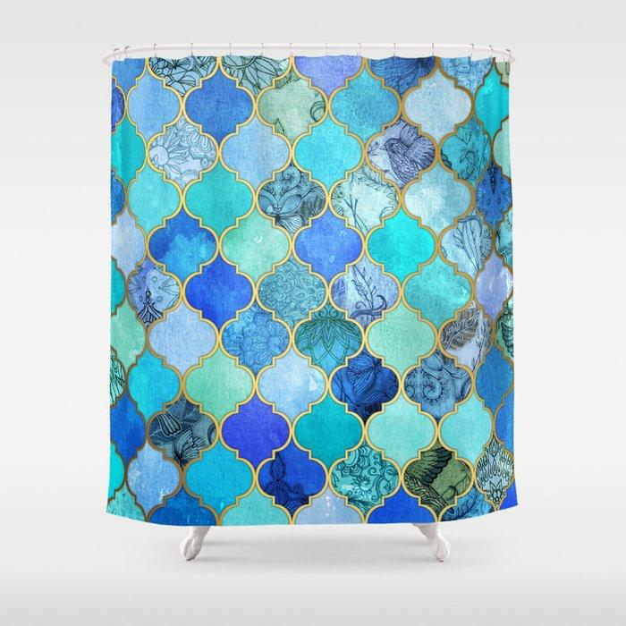 Cobalt Blue Aqua Gold Decorative Moroccan Tile Pattern Shower Curtain