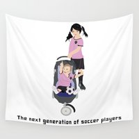 soccer Wall Tapestries featuring soccer players by Design4u Studio