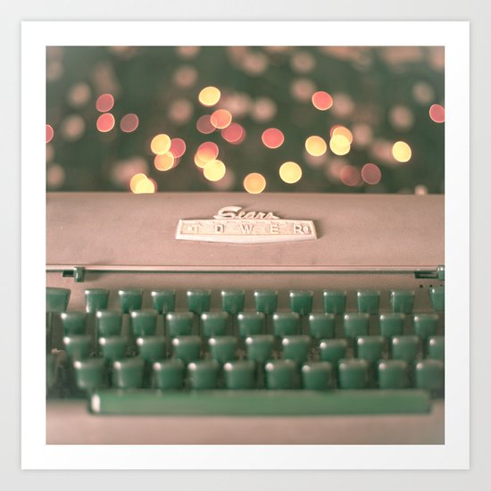 Typewriter with magic bokeh (Vintage and Retro Still Life Photography)  Art Print