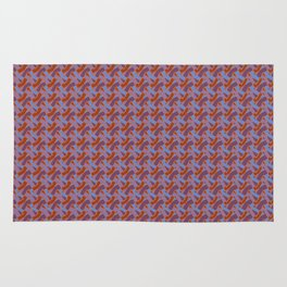 Red and Blue Mosaic Rug