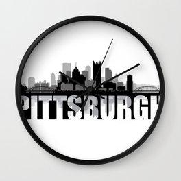 Pittsburgh Silhouette Skyline Wall Clock