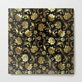 Black & Gold Foil Floral Damasks 3 Metal Print