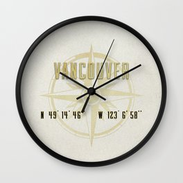 Vancouver - Vintage Map and Location Wall Clock