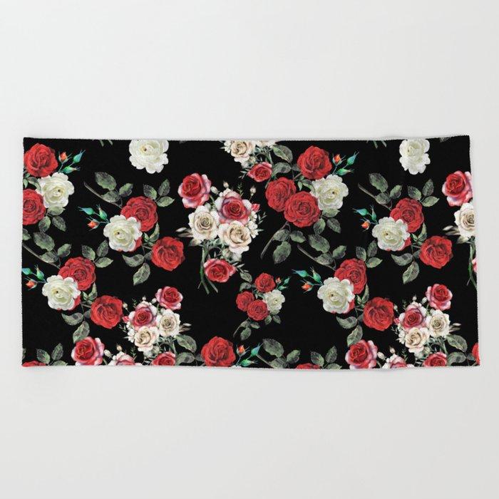 Seamless Floral Pattern Beach Towel