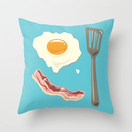 bacon & eggs, blue Throw Pillow