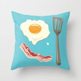 bacon & eggs, blue Throw Pillow