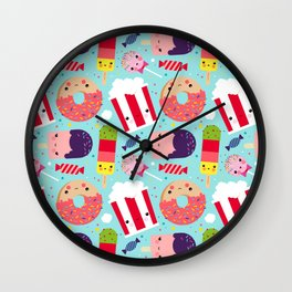 Kawaii Illustration Pattern with Sweets like Donuts, Ice Cream, Lollipops and Popcorn Wall Clock