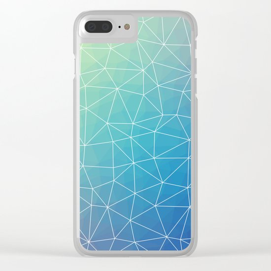 Abstract Blue Geometric Triangulated Design Clear iPhone Case