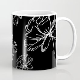 Hand Drawn Peonies Black Coffee Mug