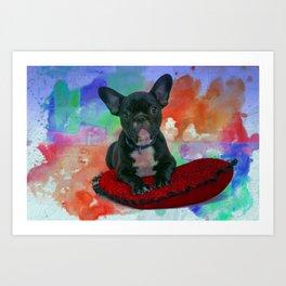 French Bulldog Puppy On Cushion Art Print