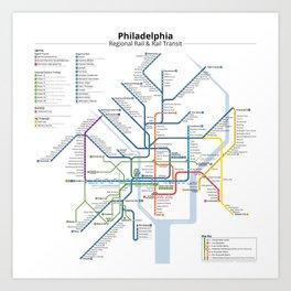 Philadelphia Transit Map Art Print
