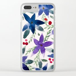 Wintery Florals Clear iPhone Case