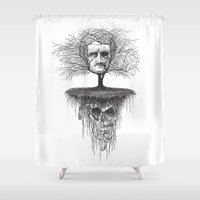 edgar allan poe Shower Curtains featuring Edgar Allan Poe, Poe Tree by Newmanart7 -- JT and Nancy Newman, Art a