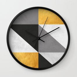 Gray and gold texture I Wall Clock