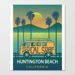 Huntington Beach Surf Van Surfing Shirt Canvas Print
